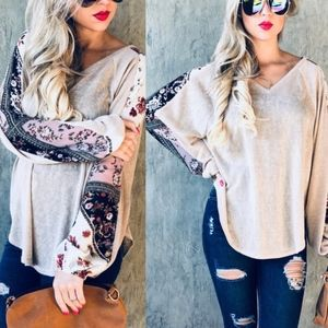 PHOEBE Floral Print Sleeve Top - TAUPE